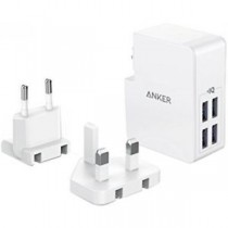 ANKER PowerPort 4 Lite 4 Port Wall Charger (UK & EU Plugs) 旅行充電轉插頭 (白色)